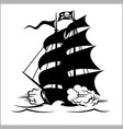 pirate ship galleon brigantine and cutter under vector image