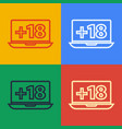 pop art line laptop with 18 plus content icon vector image vector image