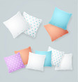 realistic detailed 3d color and white pillows set vector image