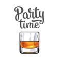 Scotch whiskey rum brandy shot glass invitation vector image