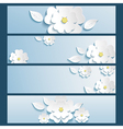 Set of banners blue with 3d flower sakura and leaf vector image vector image