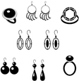 Set of black icons with jewelry vector image