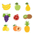 set of colorful cartoon fruit icons apple pear vector image