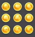 set of game coins game interface gold vector image vector image
