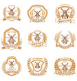 set of wheat flour emblems design element for vector image