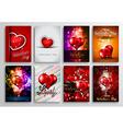 set valentines flyer design invitation cards vector image