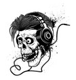 skull with headphones on grunge background design vector image vector image