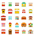 street food kiosk icons set isolated vector image