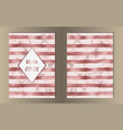 stripe pink gold and marble covers vector image vector image