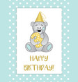 teddy bear in hat and number 3 vector image vector image