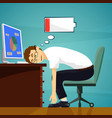 tired worker in the workplace low battery charge vector image