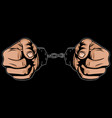 two hand in handcuffs vector image vector image