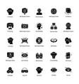 virtual reality glyph icons set vector image vector image