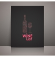 wine list design with a bottle and a wineglass vector image vector image