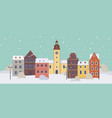 winter cityscape with colorful old buildings old vector image