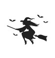 witch flying on broomstick silhouette vector image