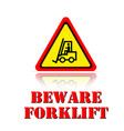 yellow warning beware forklift icon background vec vector image