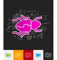 beetle paper sticker with hand drawn elements vector image