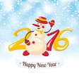 New Year greeting card with snowman vector image