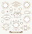 Set of line design emblem sign and hipster labels vector image