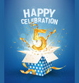 5 th years anniversary and open gift box vector image vector image