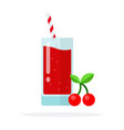 a branch cherry and a glass cherry juice vector image