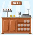 a counter with beer on the part vector image