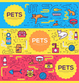 animal brochure cards thin line set cute vector image