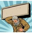 Antique Atlas stone tablet strong man businessman vector image