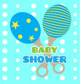 baby shower card with a shaker toy vector image vector image