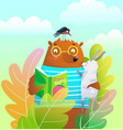 bear teddy and rabbit reading book in nature vector image vector image