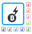 bitcoin lightning strike framed icon vector image vector image