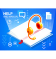 bright help book and head phone on blue back vector image