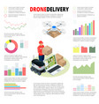 business infographics drone fast delivery of goods vector image vector image