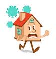 cartoon character house run away from coronavirus vector image vector image