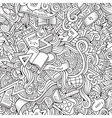 Cartoon doodles school seamless pattern vector image vector image