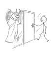 cartoon of man who is ready to open door but vector image vector image