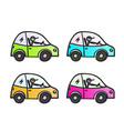 cartoon yellow car different color set with stick vector image