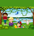 children reading books in nature vector image