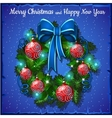 Christmas wreath with red balls and blue bow vector image vector image