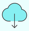 cloud download line icon simple minimal pictogram vector image vector image