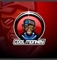 cool monkey esport mascot logo vector image vector image