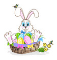 cute easter bunny with a basket of colorful eggs vector image