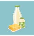 Dairy products isolated on blue background vector image vector image
