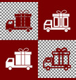 delivery gift sign bordo and white icons vector image vector image