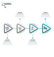 four triangular elements or arrows with pictograms vector image vector image