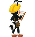 funny black ant wearing yellow helmet cartoon vector image vector image