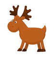 funny little moose with big branchy horns and vector image vector image
