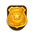 gold realistic police detective badge vector image