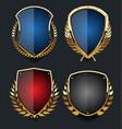 golden shields and laurel wreath retro design vector image vector image